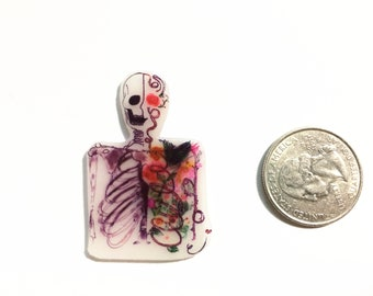 Shrinky Dinks Floral Skeleton Magnet - Halloween magnet