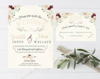 Wedding Invitation Vintage Style Blush Pink and Plum Simple Floral Rustic Wedding Invitation Response Card RSVP #5013
