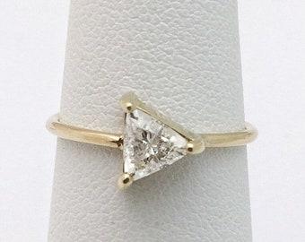 Half Carat Trillion Cut Diamond Ring 14K Yellow Gold Minimalist Arrow