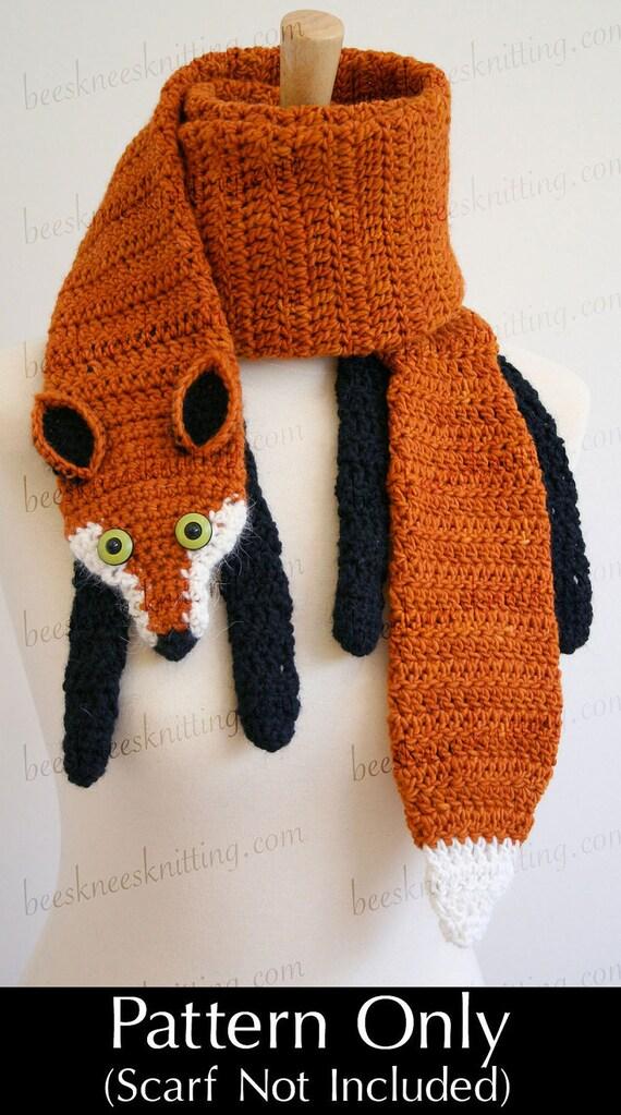 Digital Pdf Crochet Pattern For Fox Scarf Diy Fashion Tutorial Instant Download English Only