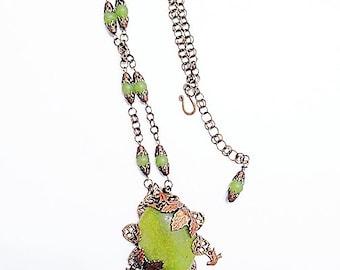 Olive Jade Necklace Set, Green Necklace Set, Olivine Statement Necklace, Serpentine Necklace, Olivine Necklace, Olive Jade Jewelry