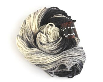 Chunky merino wool, superwash bulky handdyed knitting crochet yarn, variegated Perran Yarns, Storm Cloud, uk yarn skein hank, black grey