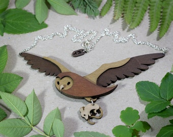 Owl and Mouse necklace - Woodland Collection