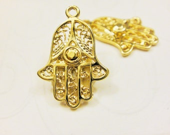Vermeil,18k gold over 925 Sterling silver hamsa hand charm, vermeil hamsa hand, hamsa hand, shiny gold hamsa hand