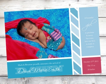 Girl Birth Announcement, baby girl, Baby announcement, Photo announcement, New baby, baby girl card, announcing birth, Photo card, 5x7