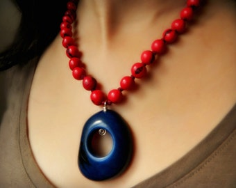 Tagua Necklace - Indigo Blue & Samba Red / Eco Friendly