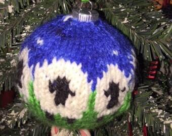 Hand Knit Sheep Ornament
