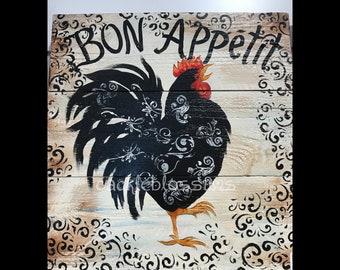 "16"" X 16"" #604 Black Rooster Art on Rustic Wood sign Original Art"