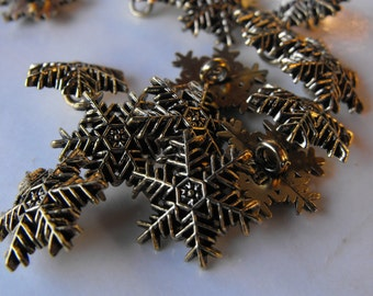 """6 Aged Gold Medium Snowflake Shank Buttons Size 3/4""""."""
