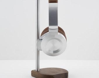 Modern Headphone Stand | PERCH  V2.0 | Solid Peruvian Walnut & Aluminum |
