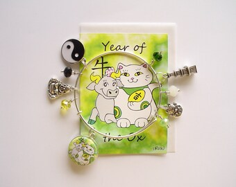 Maneki Neko Year of the Ox Expandable Stackable Bangle Charm Bracelet with ACEO Card