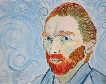 Vincent Van Gogh portrait Original watercolor painting