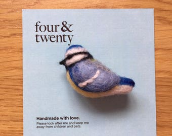 Needle Felted Blue Tit Brooch