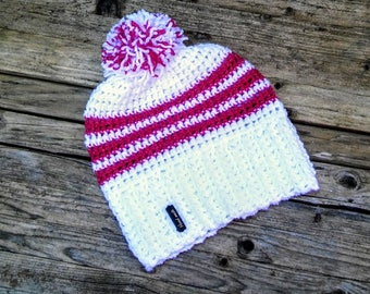 Winter crochet hat with pom pom, Christmas gift , free shipping