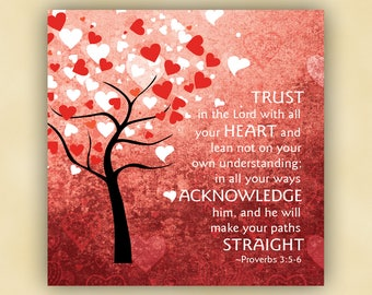 18x18 Trust in the Lord - Proverbs 3:5-6 - Christian Scripture Canvas