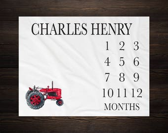 Farm Tractor Milestone Blanket Month Blanket Baby Growth Tracker Soft Fleece Blanket Baby Shower Gift Newborn Boy Blanket Watch Me Grow