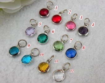 9mm Crystal Birthstone Charms,Crystal Birthstone Drops,Birthstone Pendant,Full Set of High Quality Crystal Channel Charms (12 month colors)
