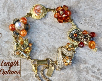 Vintage Earring Bracelet, Charm, Amber, Copper, Brown, Cameo, Dangle, Topaz, Gold Bridesmaid gift for her, Jennifer Jones OOAK - Autumn