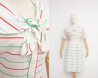 Vintage 70s Dress | Japanese Vintage Dress | White Sheer Cotton Tricolor Stripe | Short Sleeve Summer Day Dress | Sailor Collar Shirt Dress