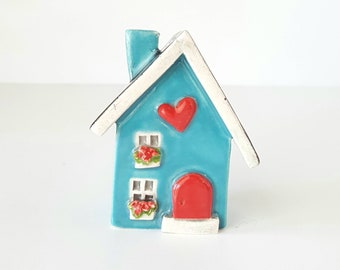 Little Clay House,Turquoise Blue Ceramic House, Miniature House, Whimsical house, Fairy House, Clay Cottage, Housewarming gift