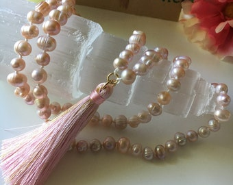 Pink Freshwater Pearl Necklace with Silk Tassel
