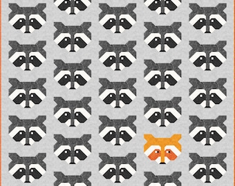 Raccoon Quilt Pattern, PDF, Instant Download, modern patchwork, raccoon, animal, lap quilt, mini quilt, baby quilt, twin quilt, full quilt