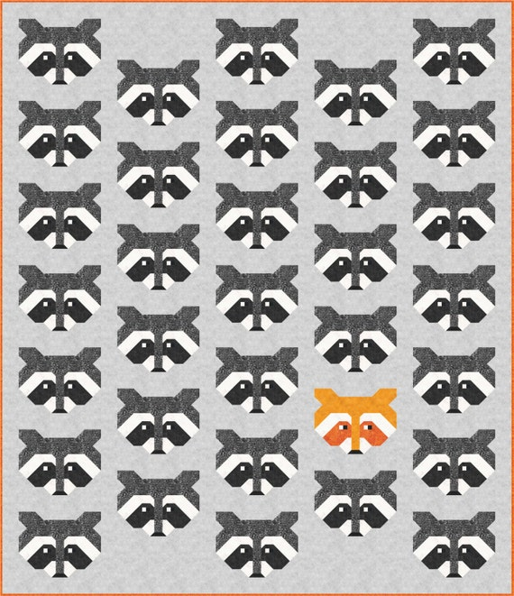 Raccoon Quilt Pattern PDF Instant Download modern