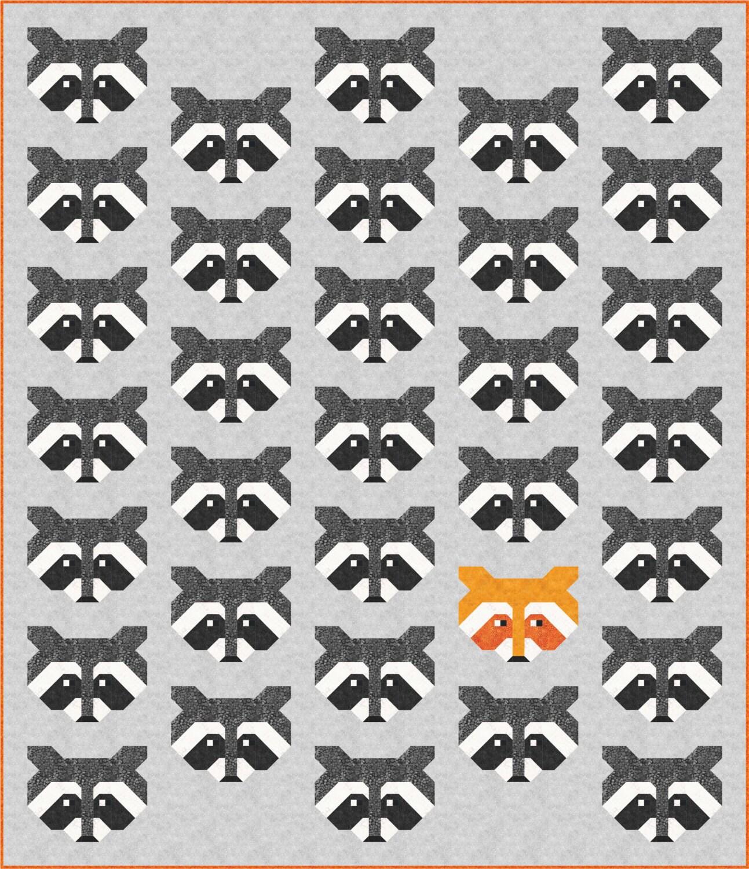 Raccoon Quilt Pattern PDF Instant Download modern