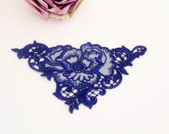 Swiss embroidery: lace applique darkblue