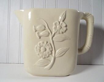 Vintage Planter/Vase Creamy White Ceramic Pitcher Raised Flower Motif