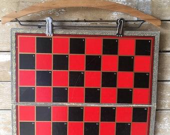 Vintage Retro Checker Board  Black and Red