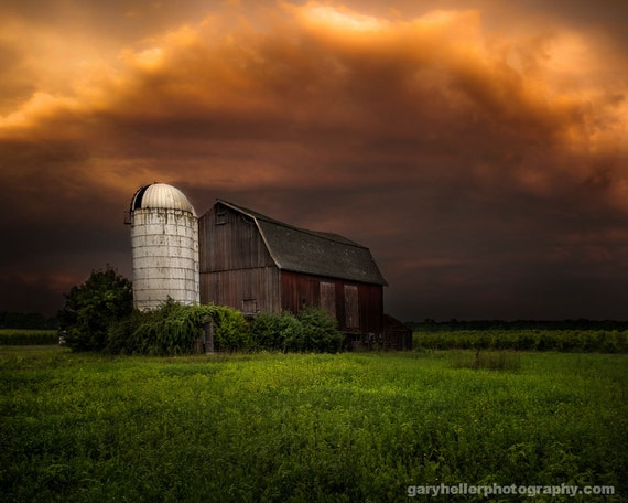 Red Barn And Stormy Sky Dramatic Light Rustic Landscape Old