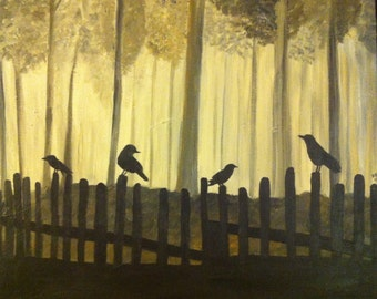 Sepia Crows on a Fence