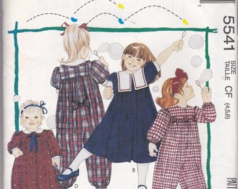 Vintage NEW AND UNCUT McCalls 5541 Girls Dress and Jumpsuit Pattern in size 4-5-6.