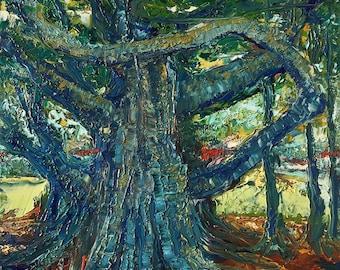 Florida Banyan Tree, Oil Knife Painting