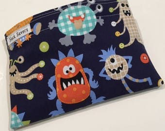 Reusable Sandwich And Or Snack Bag Little Monster Reusable Sandwich Snack Bag You Choose Size