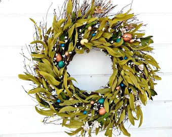 Easter Wreath-Spring Wreath-Easter Home Decor-Spring Door Wreath-Easter Door Decor-Pastel Bay Leaf Wreath-Scented Wreath-Housewarming Gift