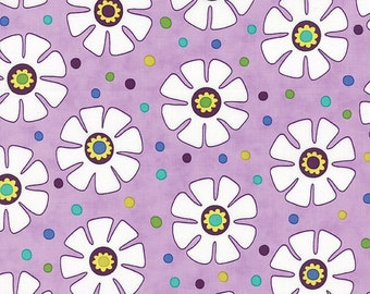 Fabric - LOL White Flowers on a Lavender Background with Multi-Colored Dots by Me & My Sister for Moda - Yardage - 22232 13