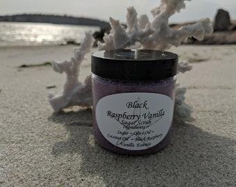 Black Raspberry Vanilla Sugar Scrub, Exfoliation, Exfoliate, Weddings, Gift, Favor, Self Care, Pamper, Exfoliating, Fresh, Berries.