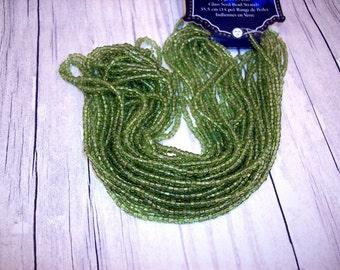Peridot Green Seed Beads by Blue Moon