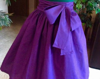 Midi/Mini Sashed PURPLE  skirt for girls. For graduation, birthday party, wedding, school dance, church. Great gift ideas.