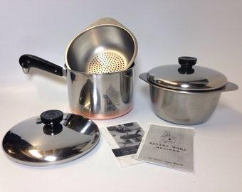 Revere Ware 5pc Set. 3 Qt Saucepan, Deep Double Boiler, Steamer w Lids  Rome NY Copper Bottom Vtg 50's