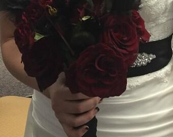 Bouquet, black, Wedding bouquet, boutonniere, wrist-let, Bohemian, Boho