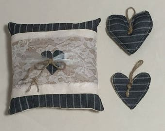 Ring Bearer Pillow ~ Small Pillow ~ Denim Pillow ~ Small Accent Pillow ~ Small Cushion ~ Stuffed Pillow ~ Office Decor ~ Cottage Pillow