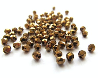 Tiny Faceted Round Antique Bronze Czech Glass Beads, 3mm - 50 pieces