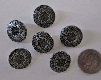 6 Vintage Round Etched Metal Buttons 1/2 inch