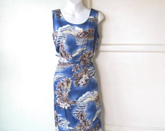 Beige/Marine Blue Hawaiian Tropical Print Wrap Dress/Cover-Up/Sarong Dress; Women's Small Blue Beach/Pool/Cruise Dress