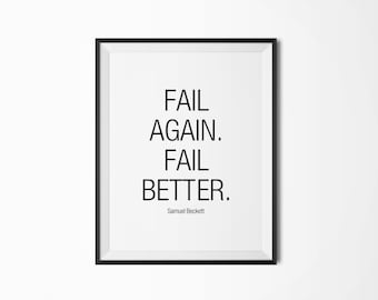 Fail again, Fail better, Motivational poster, Printable poster, Inspirational quote, Digital download, Scandinavian poster, Nordic decor