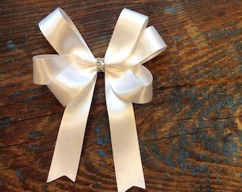 10 x handmade small 14 cm  decoration silk bows with diamonti