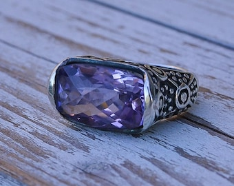Amethyst gemstone sterling silver ring, purple stone, for her